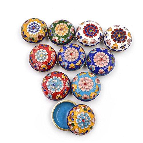 We-buys Cloisonne Floral Jewelry Box Chinese Handmade Powder Case Jewelry Storage Random 1Pc