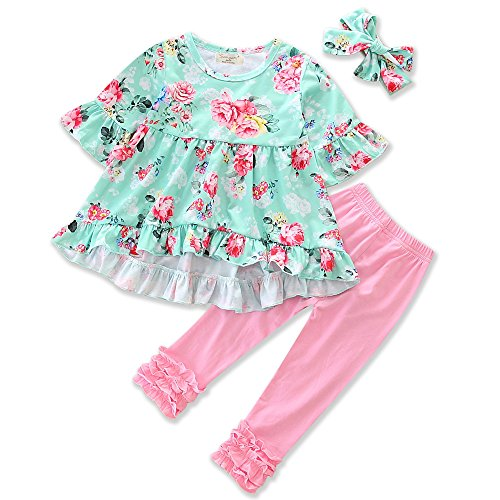 Price comparison product image Samgami Baby Girls Floral Clothes Print T-Shirt Pink Long Pants Headband Baby Clothing Set (Tag80/6-12M, Ping)