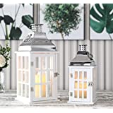 "JHY DESIGN Set of 2 White Wood Decorative Candle Lanterns 18""&12"" High Wood Lanterns for Indoor Outdoor Events Parities…"