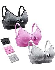 CLUCI 3 Pack Women Nursing Maternity Bra Full Bust Sleeping Wireless Bralette for Breastfeeding with Bra Extenders Clips