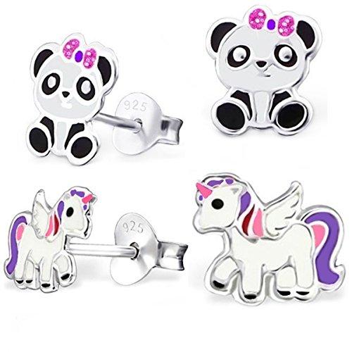 GH * 2pares Pegasus Unicornio + PANDA oso Set Pendientes 925plata auténtica niña niños pendientes Panda Caballos