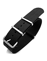 G10 NATO 23mm Watch Band, Heat Sealed Nylon, Brushed Buckle, Color Black