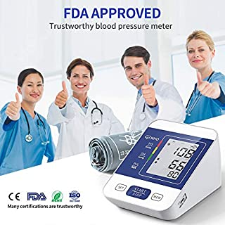 COOCEER Upper Arm Digital Blood Pressure Monitor with 2 Users 198 Memory,Automatic Heart Rate Pulse Monitor with Large Screen Display Home Use Care Device