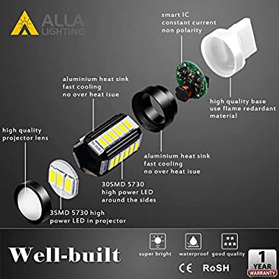 Alla Lighting LED 7440 7443 Strobe Brake Light Bulb Extremely Super Bright 2800lm 12V 5730 SMD T20 7441 7443LL LED Flashing Stop Lights TailLights, 6000K Xenon White: Automotive