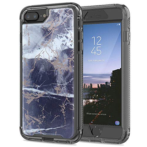 Stock Iphone - SEYMAC Stock iPhone 8 Plus/iPhone 7 Plus Case, Full Body [Shockproof Protection] Case with Translucent TPU Bumper Frame & [Non-Slip Grip] Marble Design for iPhone 8 Plus/ 7Plus/ 6Plus - Gray