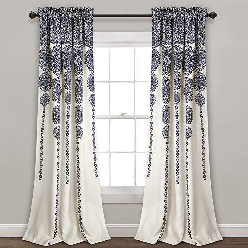 Lush Decor Stripe Medallion Curtains | Fabric Mandala Bohemian Damask Print Room Darkening Window Panel Set for Living, Dining, Bedroom (Pair), 95