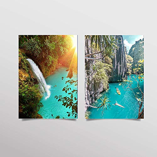 - Tropical Waterfall Lagoons- 2 Print Set Wall Art- Matching 8 x 10's