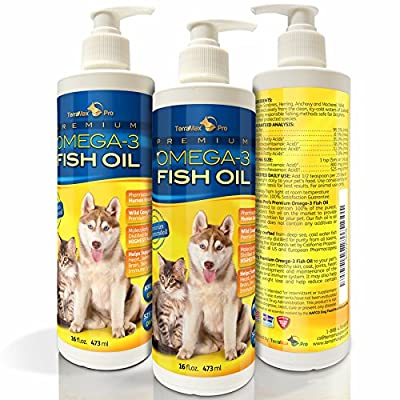 Premium Liquid Omega-3 Fish Oil for Dogs and Cats - All-Natural Human Grade Food Supplement - Wild Caught from the Nordic Waters of Iceland - Higher EPA, DHA than Alaskan Salmon Oil from TerraMax Pro