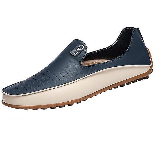 YAER Mocasines Clásicos de Los Hombres, Cuero Mocasines Zapatos del Barco Zapatos de Conducir: Amazon.es: Zapatos y complementos