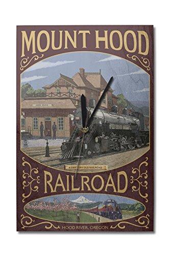 Lantern Press Hood River, Oregon - Mt. Hood Railroad (10x15 Wood Wall Clock, Decor Ready to Hang)