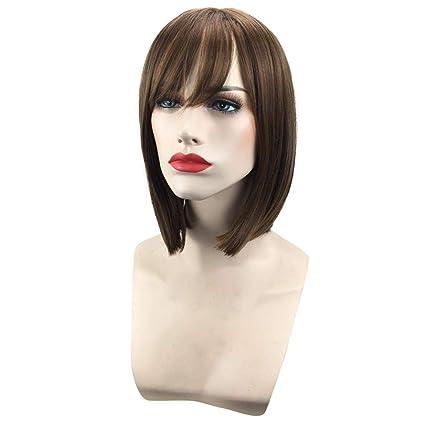 Beikoard Peluca-Bob peluca estilo de las mujeres cortas rectas pelucas de pelo completo cosplay