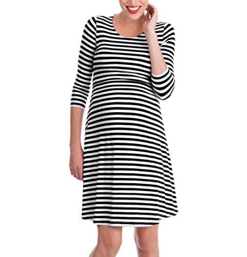 Confortable Mode Vêtements Grossesse Jupe Noir Bébé Au Genou La Robe Col Maternité Rond Adeshop Multifunctionl De Chic Élégant Pour Femmes Soins Soirée Rayées Infirmiers OUOtaqw