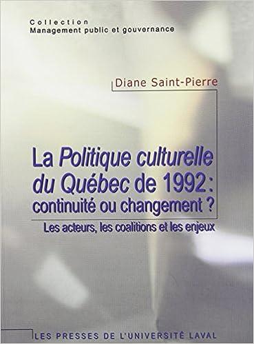Livre Politique Culturelle du Quebec de 1992 pdf, epub
