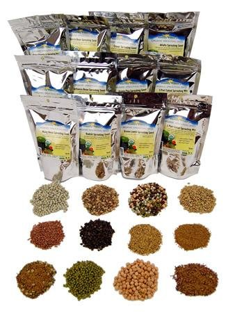 Sprouts Grow Alfalfa (12 Lb Sprouting Seed Assortment - 1 Lb Ea. of Organic Sprout Seeds - Alfalfa, Radish, Clover, Lentil, Mung Bean, Garbanzo Beans, Green Pea, Bean Salad Mix, Protein Powerhouse Mix, More)