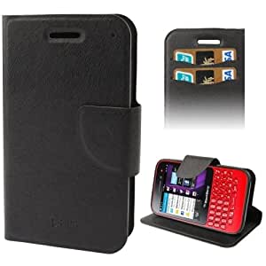 Nature Texture Horizontal Flip Leather Case with Holder & Credit Card Slor for BlackBerry Q5 (Black)