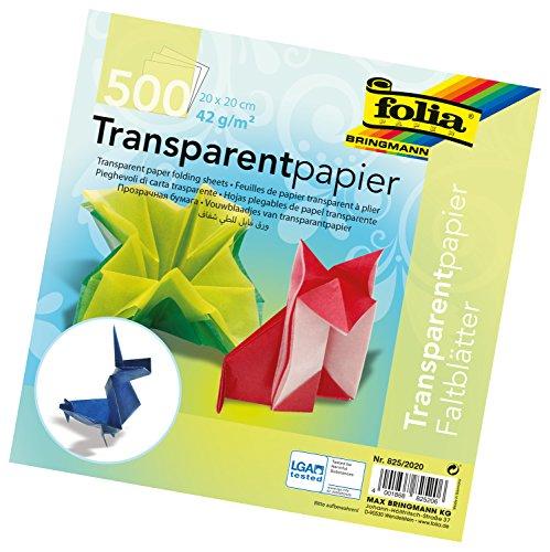Global Art Materials 825/20 Folia Semi-Transparent Origami Paper 8-Inch-by-8-Inch Bulk Pack 500 Sheets, 8
