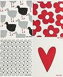Swedish Dishcloth, Set of 4 - Red & Grey (HB) Designs