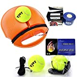 Tennis Trainer Rebound Baseboard, Vjoy Tennis Self-study Practice Training Set Tool Sport Equipment Exercise Tennis Rebound Base + 2 Training Ball + 1 Tennis Bandages