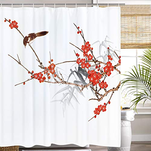 Plum Blossom with Birds Shower Curtain Colorful Ink Painting Shower Curtain Set with 12 Hooks, Durable Waterproof Bath Curtain