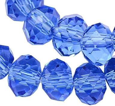 Cuentas checas de cristal de Bohemia facetadas y redondas, tamaños de 4/6/8/10 mm, colores a elegir, cristal, azul, 6x4 mm
