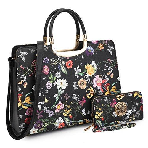 Floral Print Satchel Handbags Designer Purse Wallet Set w/Removeable Shoulder Strap Black Floral Flower Satchel Handbags