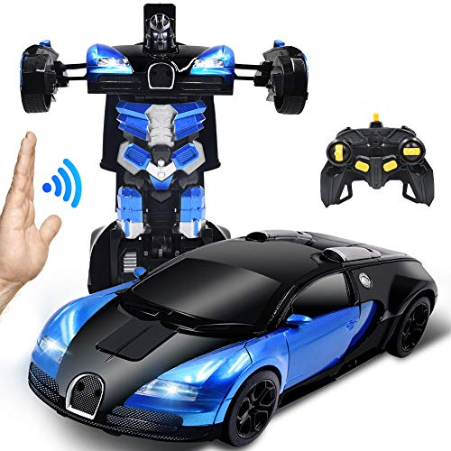 Ursulan RC Cars Robot for Kids Remote Control Car Transformers Toys for Boys Girls Age of 6,7,8-16 Year Old Gifts One Button Transforms into Robot with LED Light Intelligent Vehicle (Blue) (Toys Boys Transformers)