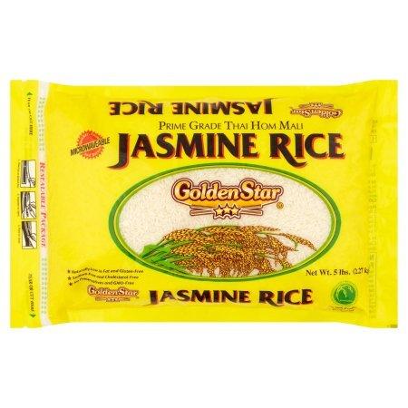 Golden Star Prime Grade Long Grain Fragrant Jasmine Rice, 5 lb, Prime Grade Thai Hom Mali, Microwavable by GoldenStar