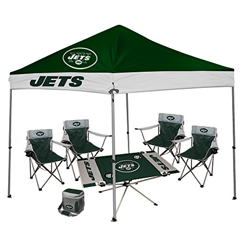 NFL Hall of Fame Tailgate Bundle - New York Jets (1 9X9 Canopy, 4 Kickoff Chairs, 1 16 Can Cooler, 1 Endzone Table)