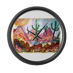 CafePress - Desert, Colorful, Large 17 Round Wall Clock, Unique Decorative Clock