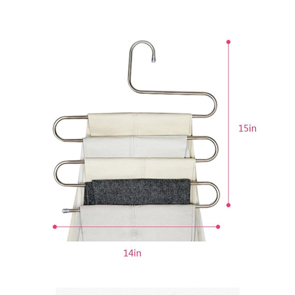 Mallalah Cintre Porte-Pantalon S-Type en Acier Inoxydable 3 Pi/èces Multi-Usages Stockage de lespace pour V/êtements Serviette /écharpe Cravate Homme Femme Pants Hangers