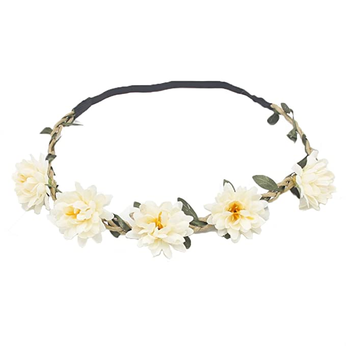Zaasy Flower Crown - White Flower Headband - Festival, Wedding ...