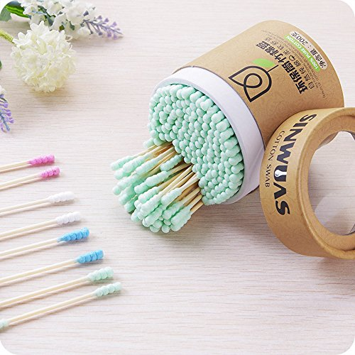 200 Pcs Sugar Makeup Swabs Spiral Cotton Buds with Wooden Stick Double Head Cosmetics Applying Cleaning, Random Color by - Sugar Stick Color Cosmetics