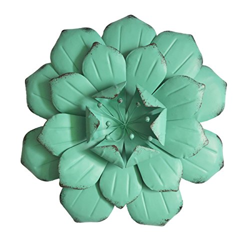 Metal Art Wire (GIFTME 5 Turquoise Flower Metal Wall Decorations for Living Room(13X2.5 inch))