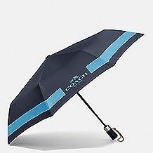 """Coach Signature 42"""" Collapsible Umbrella Anthracite/Blue"""
