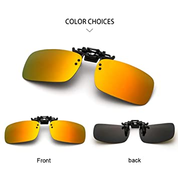 a88e68f522 XIUFEN UV400 Polarized Sunglasses Clip-on Flip-up Sun Lenses Day Night  Vision Driving Sunglasses(Without Box) Rainbow Polarized light  Amazon.in   Beauty