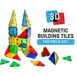 Magna-Tech Magnetic Block Toy. Build 3D Magnet Tile Structures (100 Piece) Kid Approved Color Shapes! This Learn & Play Set Is Best For Children & Toddlers Who Like Wooden Construction Blocks