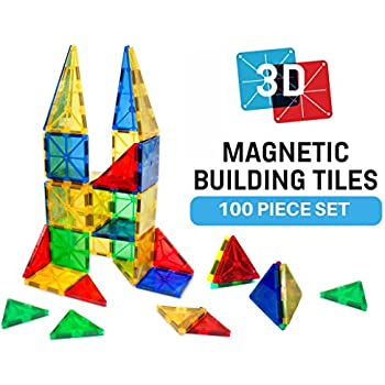 Magnetic Block Toy To Build 3D Magnet Tile Structures - (100 Piece) Magna Color Shapes Are Kid Approved! This Learn & Play Set Is Best For Children & Toddlers, Instead Of Wooden Construction Blocks