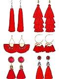 6 Pairs Tassel Earrings Straw Rattan Earrings for Women Girls Long Multi-Layer Tassel Earrings Fan Tassel Earrings Bohemian Vintage Dangle Earrings (Color Set 1)