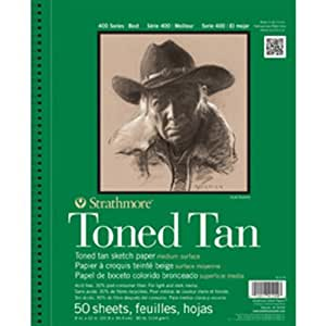 """Strathmore 400 Series Toned Tan Sketch Pad, 9""""x12"""" Wire Bound, 50 Sheets"""