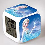 Enjoy Life : Cute Digital Multifunctional Alarm Clock with Glowing Led Lights and Frozen Sticker,