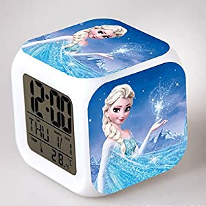 Enjoy Life : Cute Digital Multifunctional Alarm Clock with Glowing Led Lights and Frozen Sticker, Good Gift for Your…
