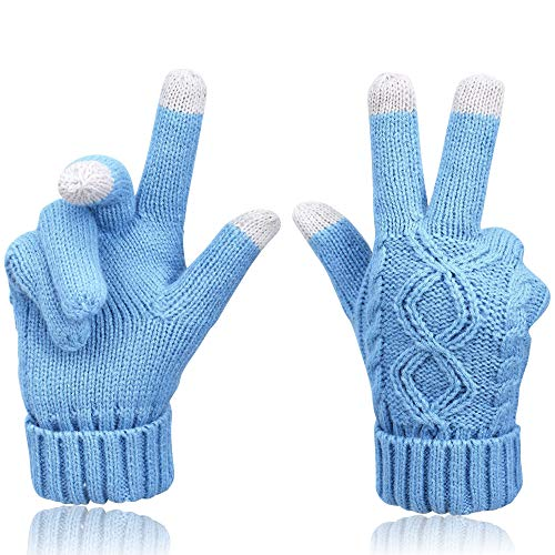Price comparison product image Touchscreen Gloves for Womens Cable Knit Fleece Lined Winter Gloves Mittens, Sky blue