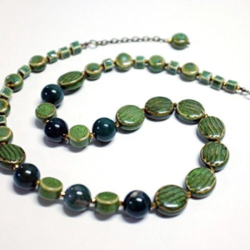 UNIQUE : ELEGANT CLASSIC NECKLACE. MATCHING GREEN/GOLD COLORED FROM MOSS AGATE AND TRADITIONAL CERAMIC (FREE EARRINGS) ()
