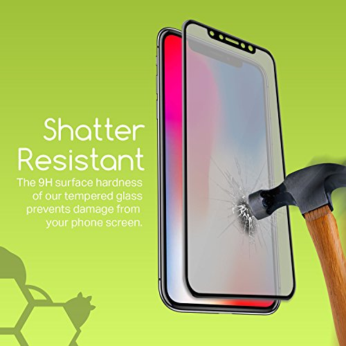 30PK - Private and Personal Protection View [3D Full Coverage] Screen Protector for Apple iPhone X, iPhone 10, Strong, Tough, and Reistant Anti Spy 3D Full Cover Tempered Glass by TortugaArmor by TortugaArmor (Image #3)