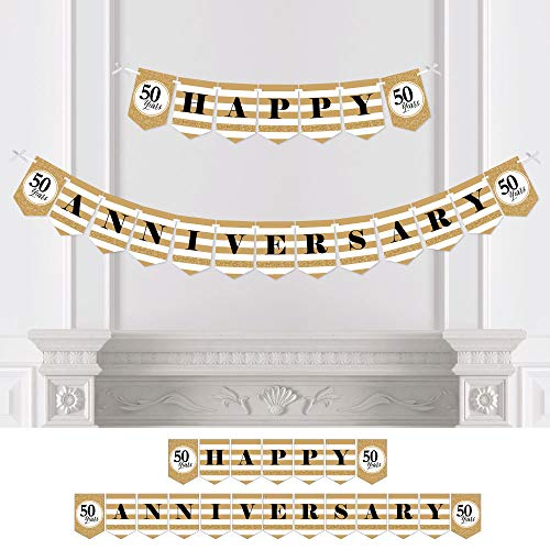 Big Dot of Happiness We Still Do - 50th Wedding Anniversary Party Bunting Banner - Gold Party Decorations - Happy Anniversary ()