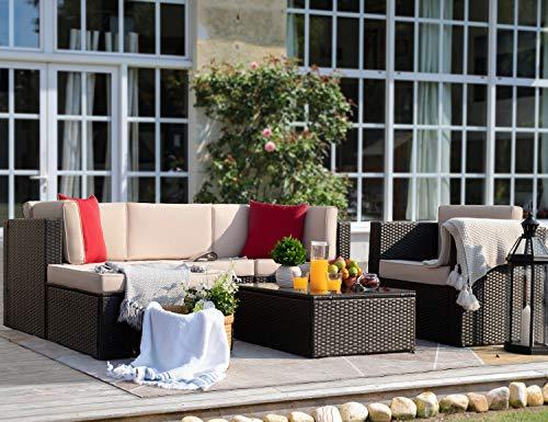 Garden and Outdoor Flamaker 6 Pieces Patio Furniture Set Outdoor Sectional Sofa Outdoor Furniture Set Patio Sofa Set Conversation Set with… patio furniture sets