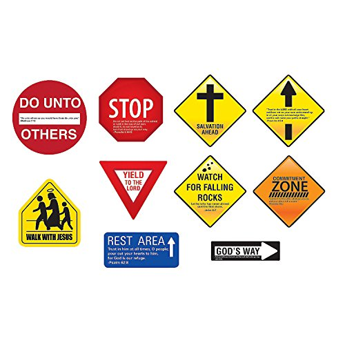 Fun Express - Religious Teen Inspirational Road Signs - Educational - Classroom Decorations - Classroom Decor - 10 Pieces ()
