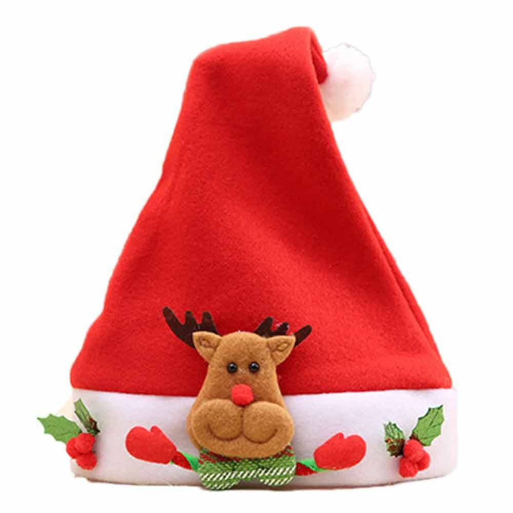Christmas Hats Santa Claus Elk Red Caps Cozy Soft Warm Adults Children Headgear (3425cm, A)
