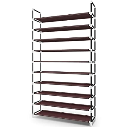 Awenia 10 Tiers Shoe Rack Organizer 50 Pairs Adjustable Shoes Shelf Tower Metal Tall For Closet With Spare Parts Diy Assembly Upgraded