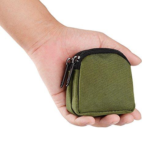 Mini Outdoor Survival-Dienstprogramm Doppelschichten Coin Geldbörsen Beutel Armee-grün